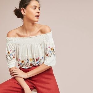 NWT Ranna Gill Linen Embroidered Off Shoulder Top